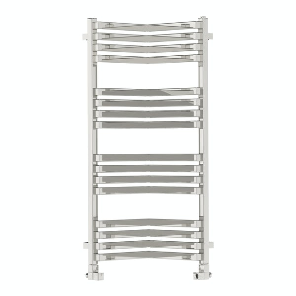 Incorner chrome effect heated towel rail 1005 x 350