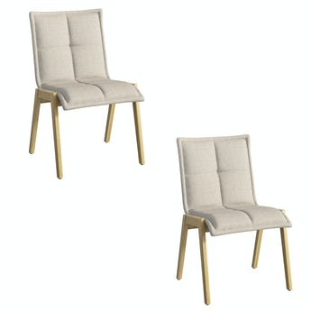 Hadley oak and beige pair of dining chairs