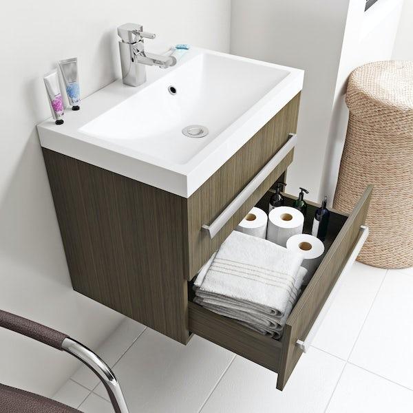 Wye walnut wall hung vanity unit 600mm with basin