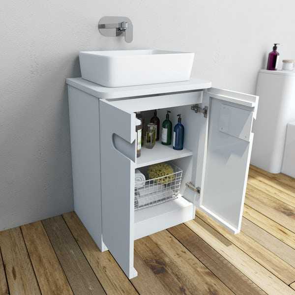 Mode Ellis white vanity door unit and countertop 600mm