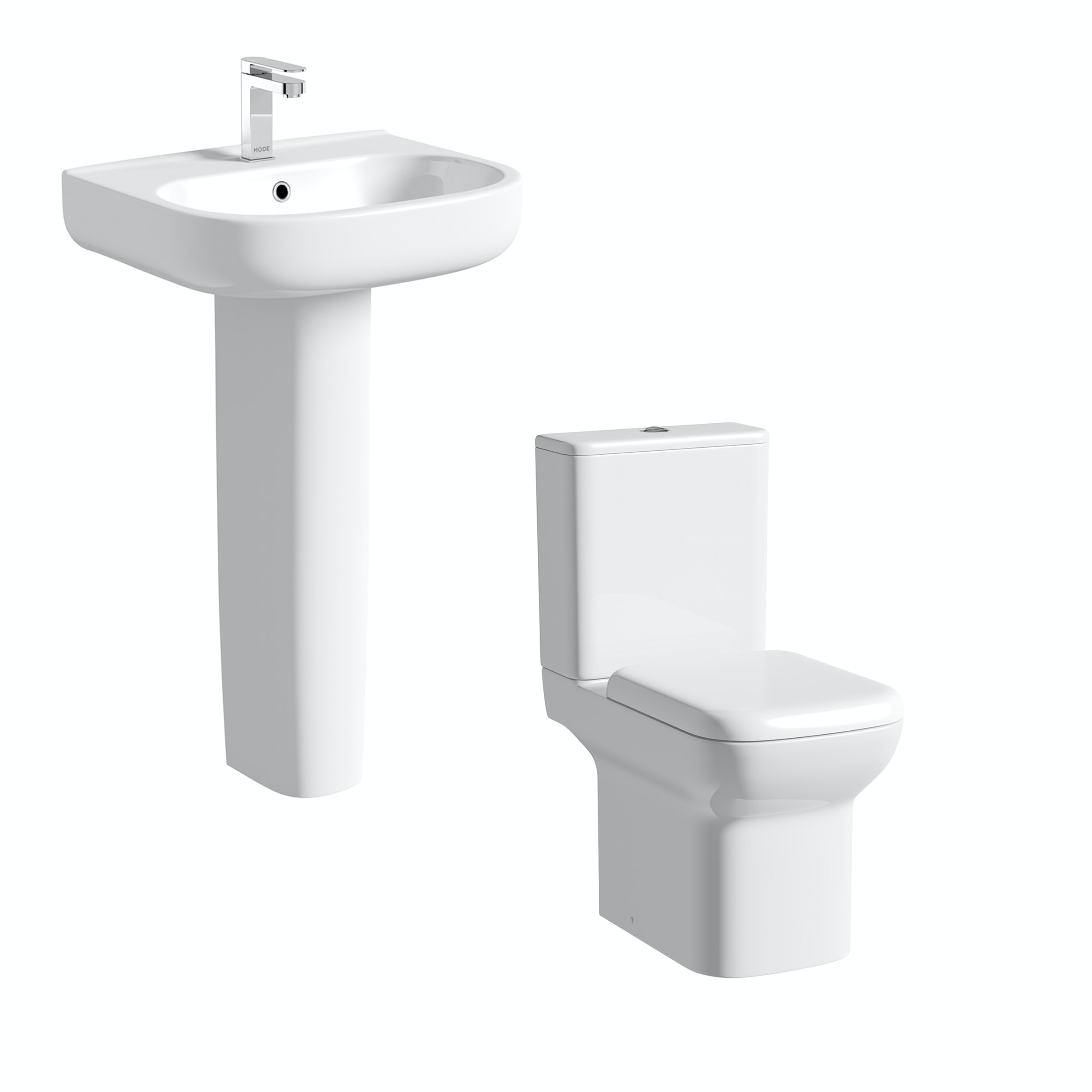 Orchard Lune cloakroom suite with full pedestal basin 550mm