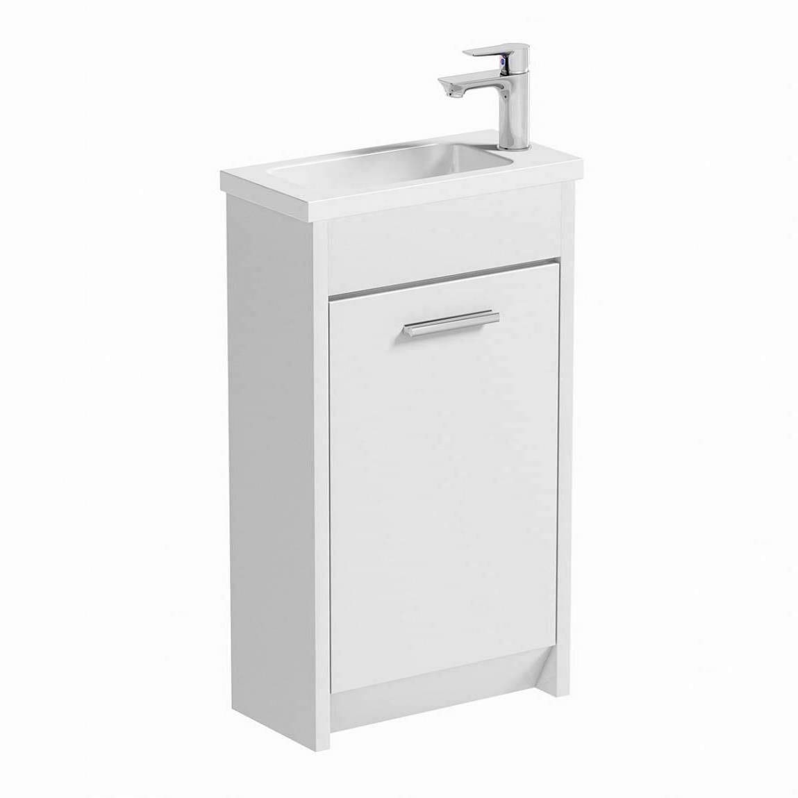 Clarity white cloakroom unit with basin 450mm