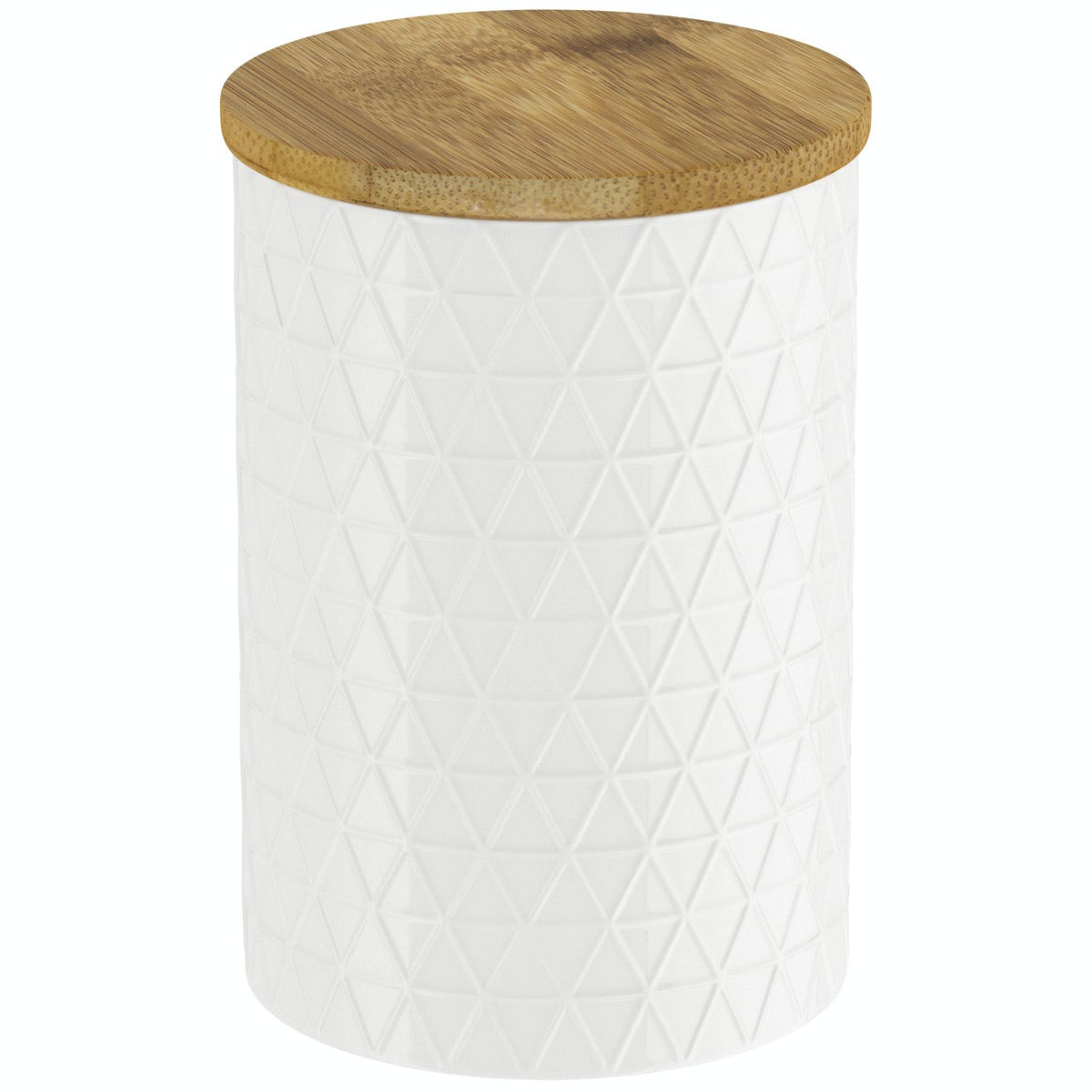 Contour white triangle storage jar