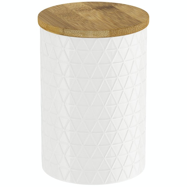 Contour white triangle storage jar