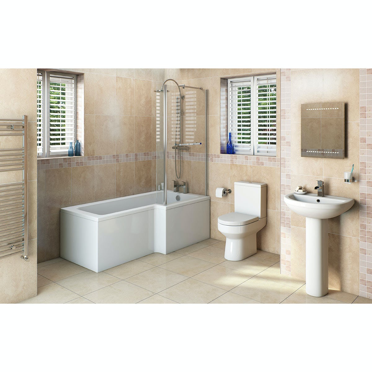 Orchard Wharfe bathroom suite with right handed L shaped shower bath 1700 x 851