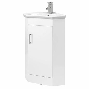 White cloakroom corner unit with basin 570mm