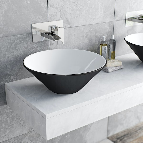 Mode Cooper wall mounted waterfall basin mixer tap offer pack