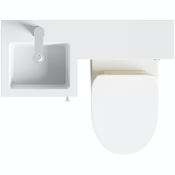 Orchard MySpace oak left handed unit with Eden back to wall toilet