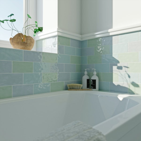 Laura Ashley Artisan duck egg blue wall tile 75mm x 150mm