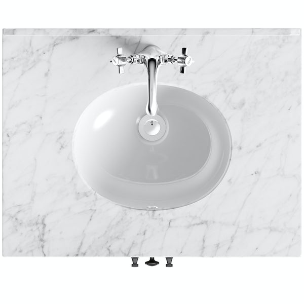 The Bath Co. Dalston vanity unit and white marble basin 650mm