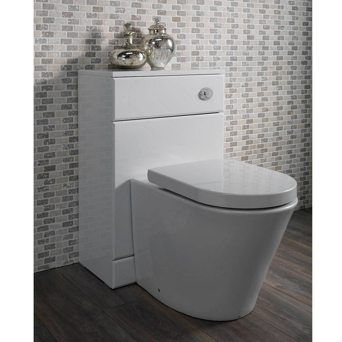 Mode Arte Back To Wall Toilet With Seat And Sienna White Slimline - White toilet with black seat