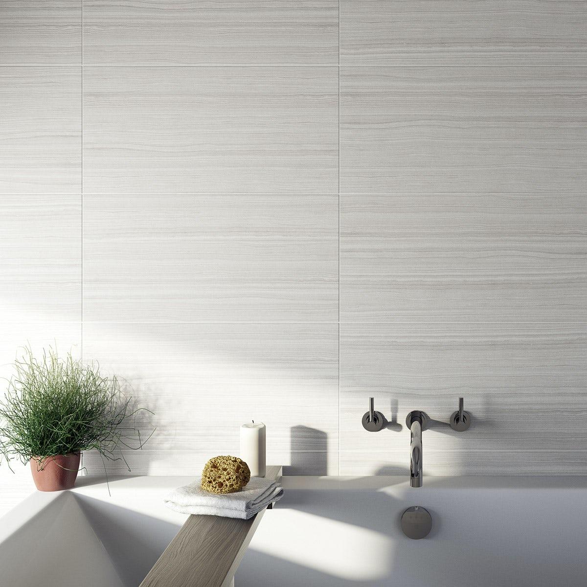 British Ceramic Tile Mirage grey gloss tile 298mm x 598mm