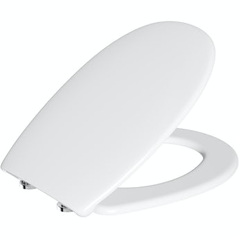 Universal thermoplast toilet seat with soft close and lift off