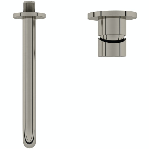Mode Spencer round wall mounted brushed nickel basin mixer tap