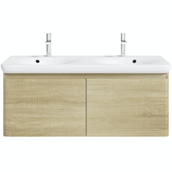 Mode Heath oak wall hung vanity unit and basin 1200mm