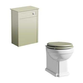 The Bath Co. Camberley sage back to wall unit with traditional toilet and sage soft close seat