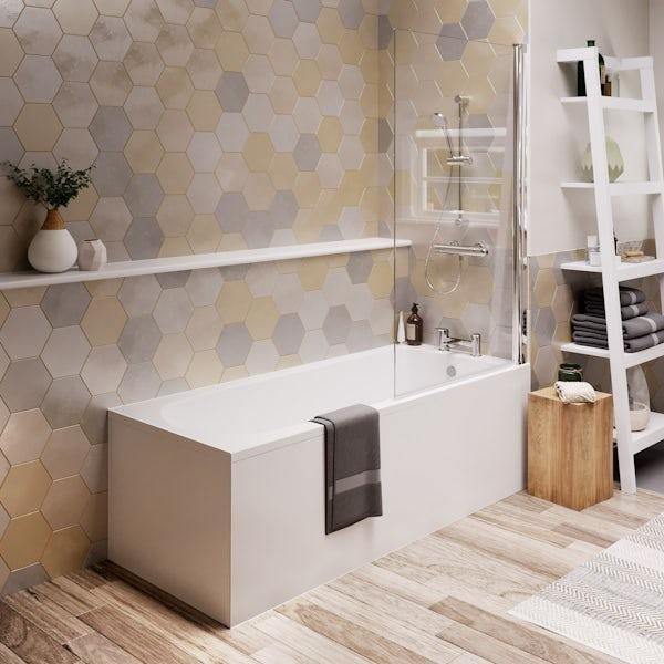 Ideal Standard Tesi straight bath and radius bathscreen