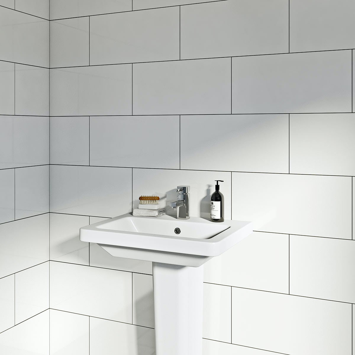 lifestyle shot of rectangular white gloss tile