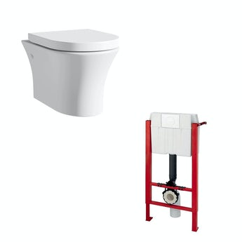 Mode Hardy rimless wall hung toilet inc soft close seat and wall mounting frame