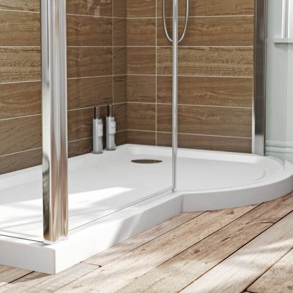 Nice P Shaped Shower Enclosures Composition - Bathroom with Bathtub ...