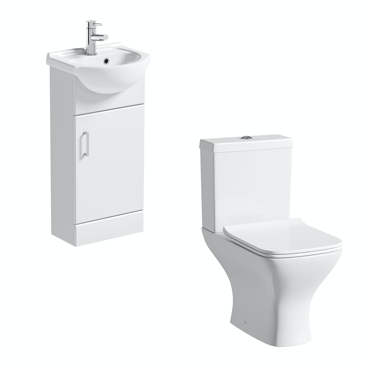Orchard Eden white cloakroom suite with contemporary square close coupled toilet
