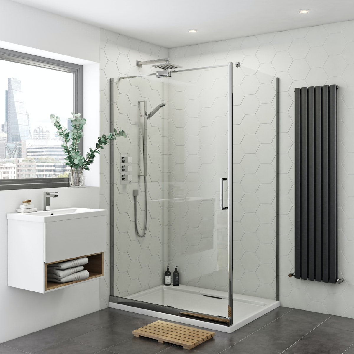 Mode Ellis 8mm easy clean left handed rectangular frameless sliding shower enclosure