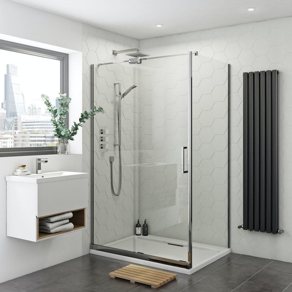 Mode Ellis 8mm easy clean left handed rectangular frameless sliding shower enclosure