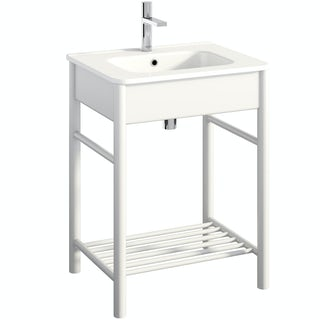 South Bank white washstand with basin 600mm