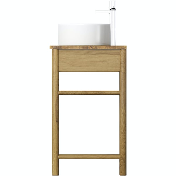 Mode South Bank natural wood washstand with Hardy basin, tap and waste