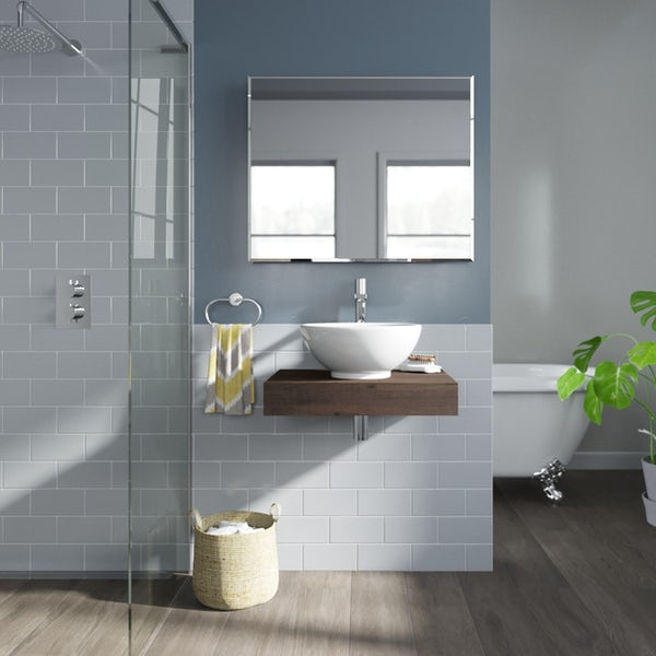 Mode Orion chestnut wall hung countertop basin shelf