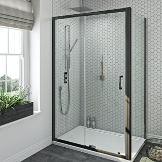 SmarTap black smart shower system with Mode black shower enclosure 1200 x 800