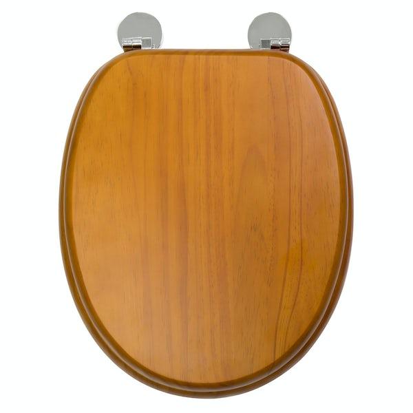 Croydex Davos  antique pine flexi fix toilet seat
