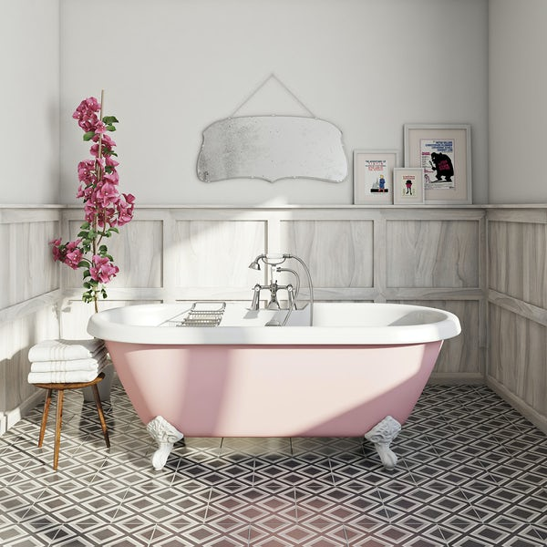 Rose roll top bath in white and dark room with feature tiles