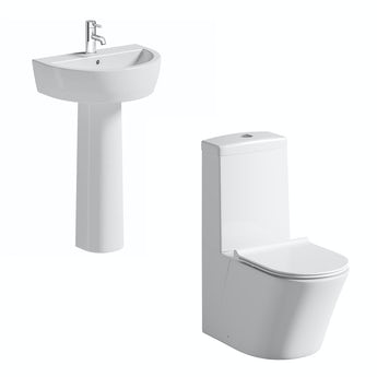 Mode Arte slimline close coupled toilet and full pedestal basin suite