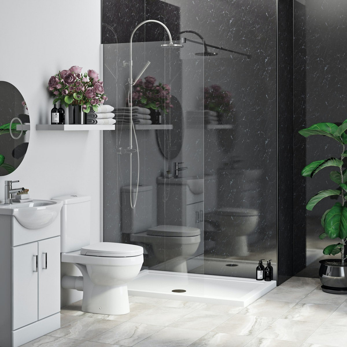 Multipanel Economy Obsidian Marble shower wall single panel