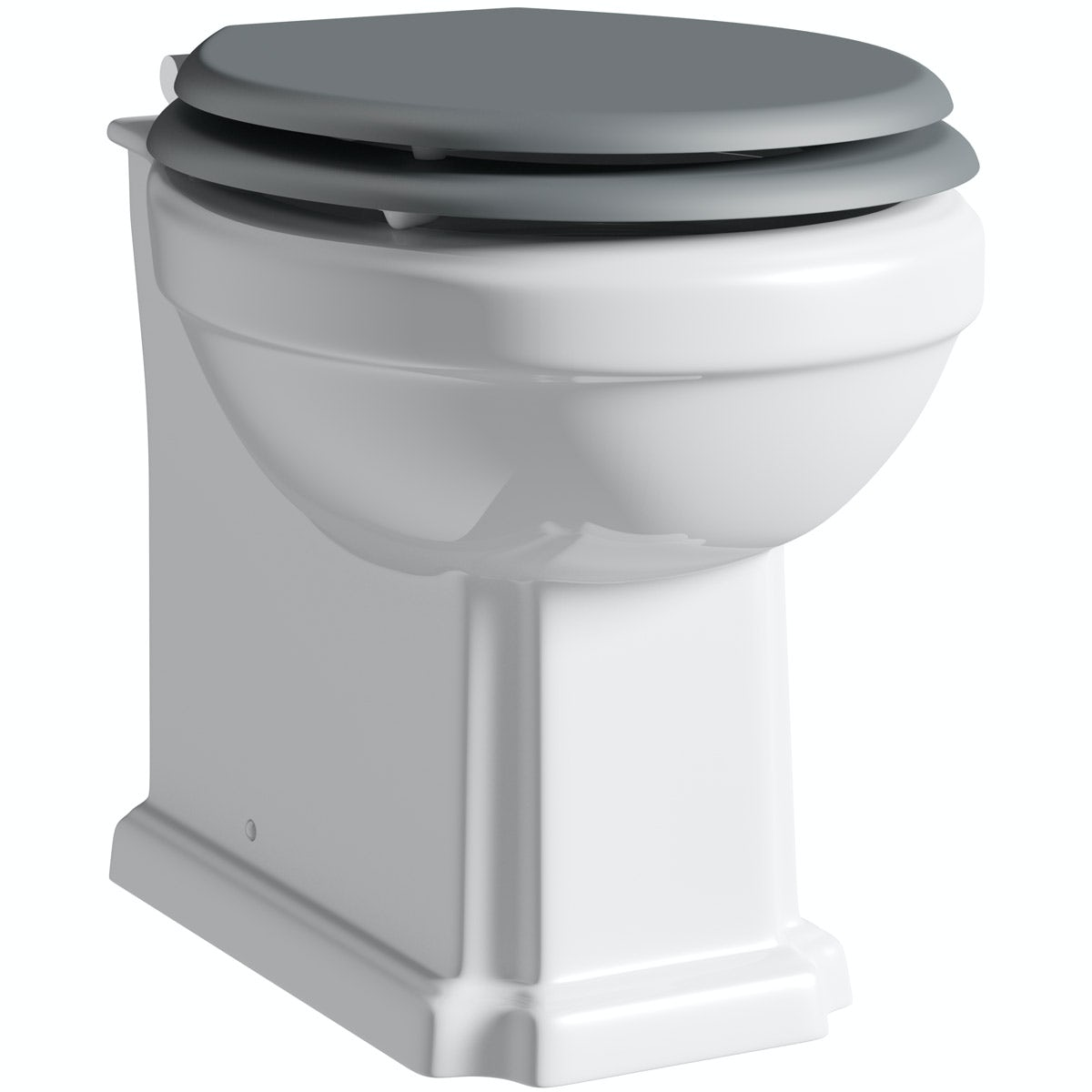 The Bath Co. Dulwich back to wall toilet with white wooden seat