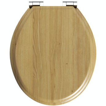 The Bath Co. traditional oak effect soft close seat
