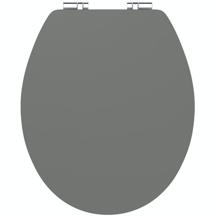 Charcoal grey shine acrylic toilet seat with soft close quick release hinge