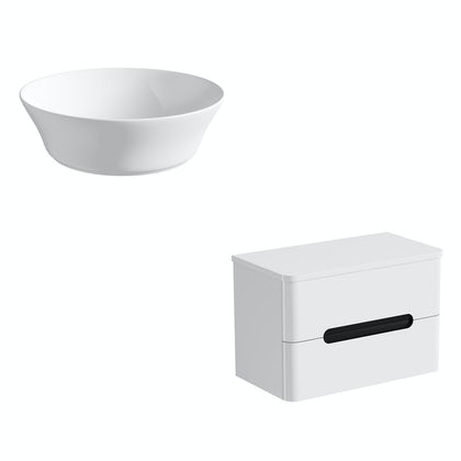 Mode Ellis essen wall hung countertop drawer unit 800mm with Bowery basin