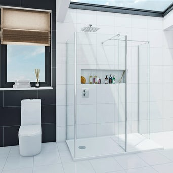 Spacious Luxury 8mm Walk in Shower Enclosure Pack with Tray 1400 x 900