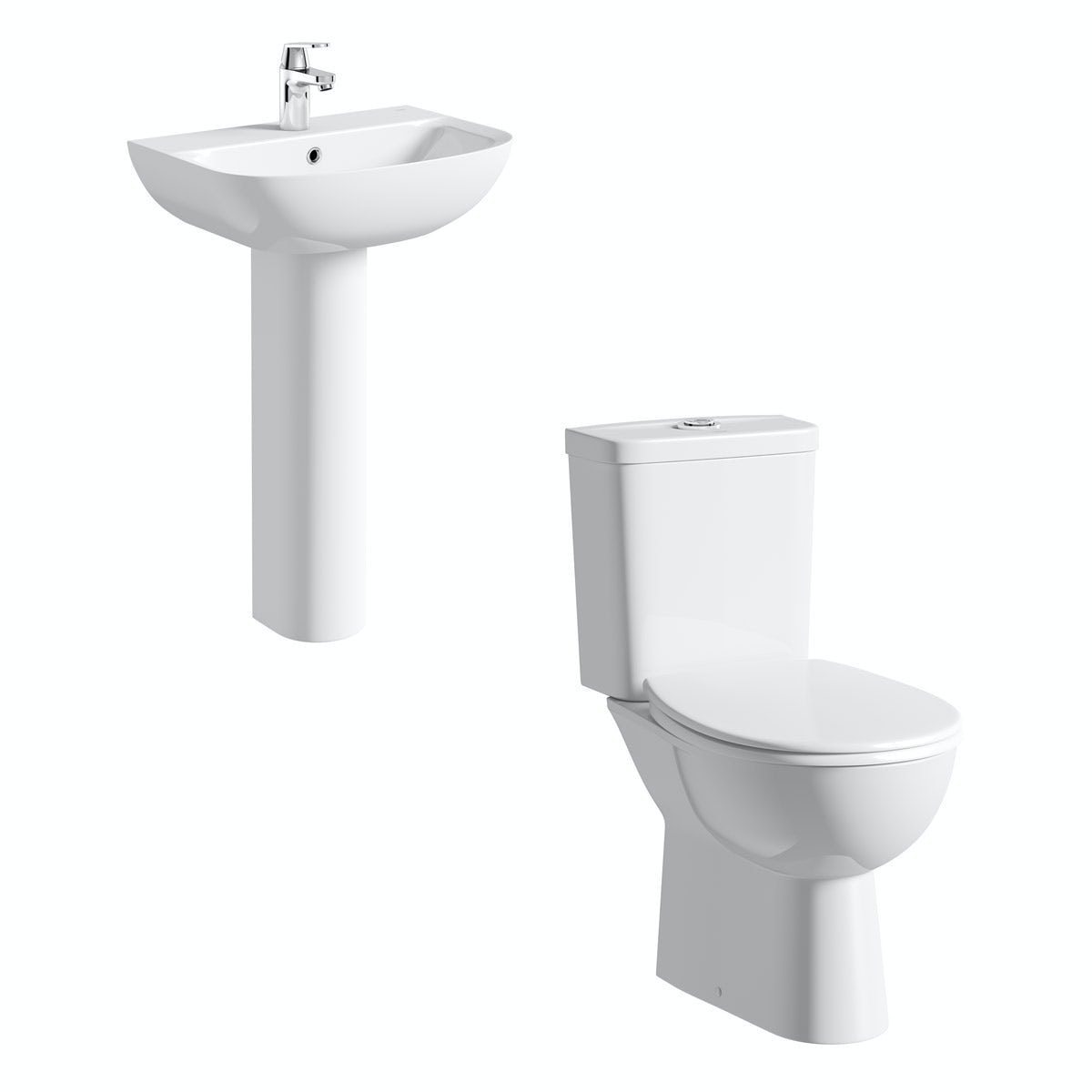 Grohe Bau rimless cloakroom suite with full pedestal basin 550mm