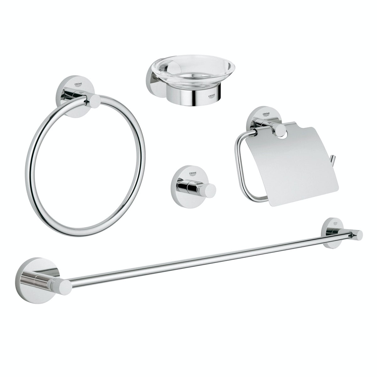 Grohe Essentials 5 in 1 master bathroom accessory set
