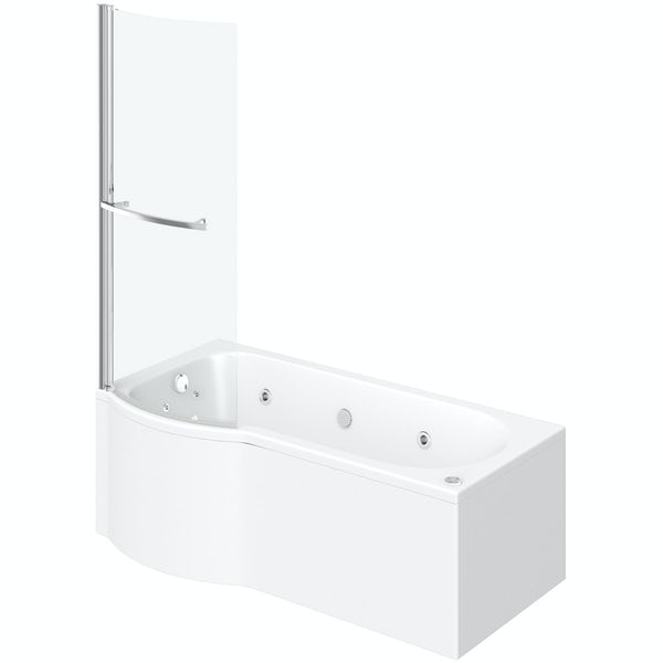 P shaped left handed 12 jet whirlpool shower bath with front panel and screen