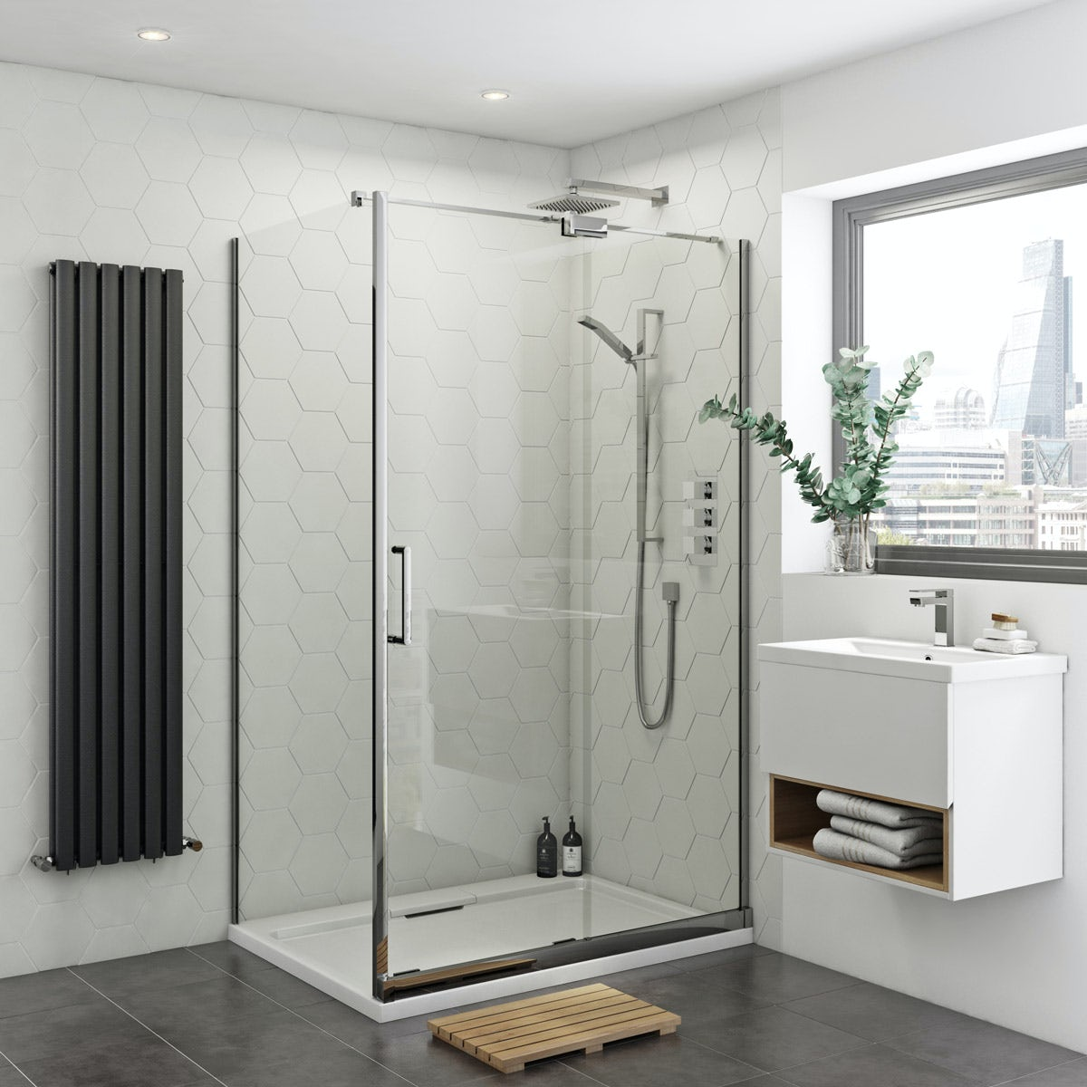 Mode Ellis 8mm easy clean right handed rectangular frameless sliding shower enclosure