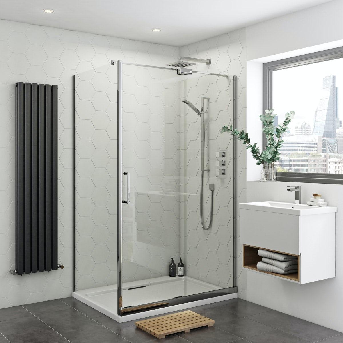 Mode Ellis 8mm easy clean right handed frameless sliding shower enclosure 1200 x 800