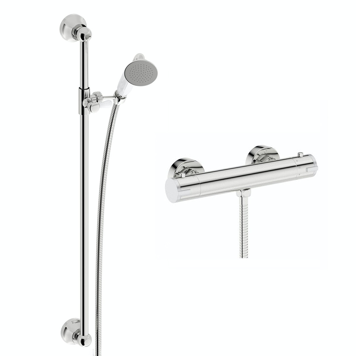 Orchard Cyclone thermostatic shower bar valve with traditional sliding shower rail kit