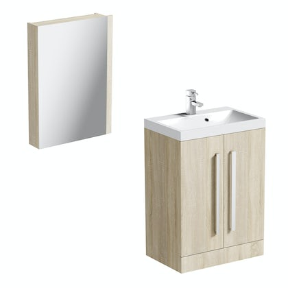 Orchard Wye oak vanity unit with mirror cabinet 600mm