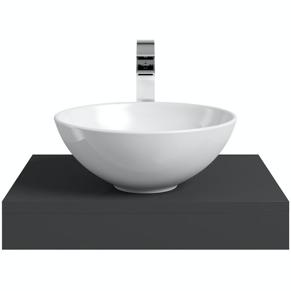 Mode Orion slate countertop shelf with Derwent basin, tap and waste