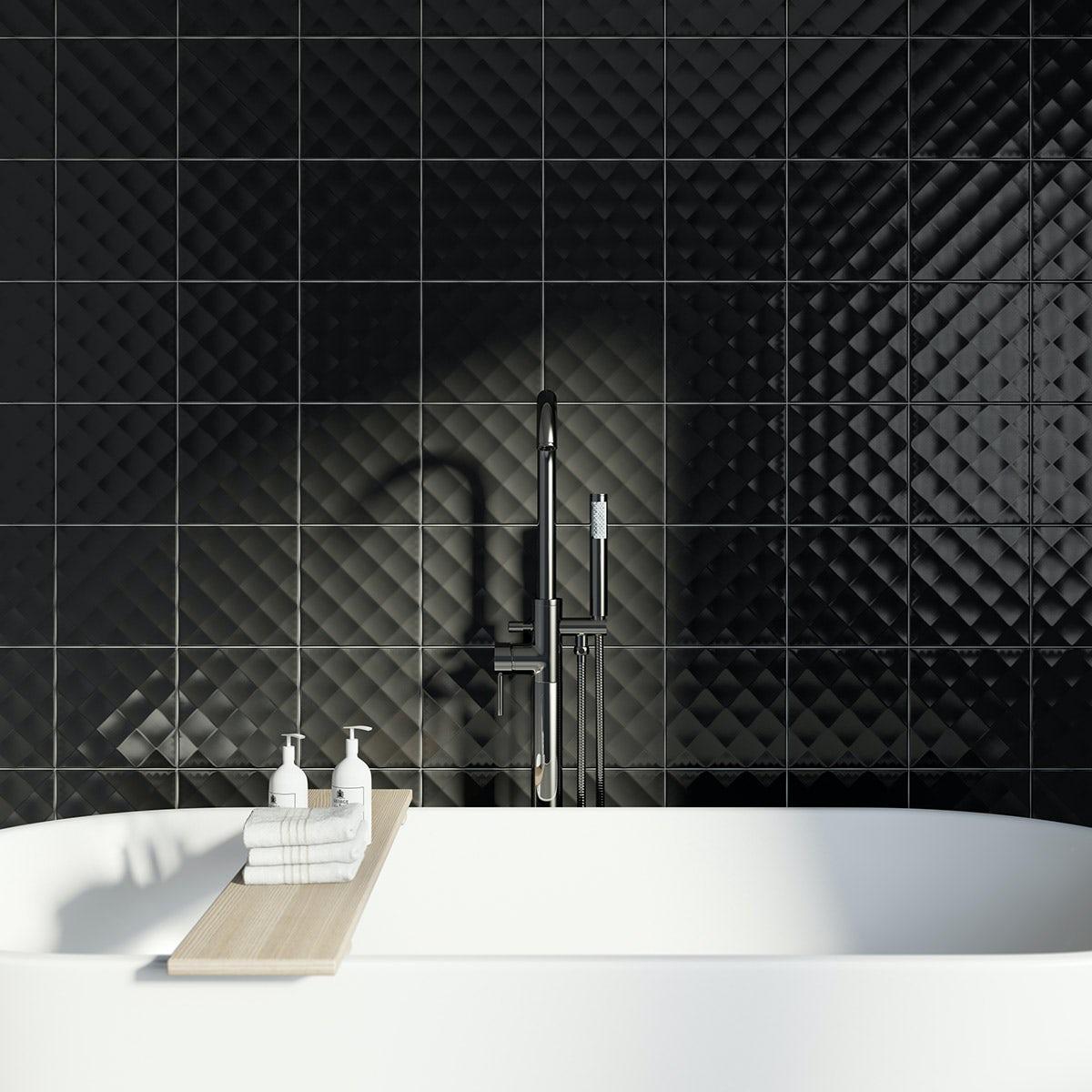 Studio Conran ridge black gloss tile 198mm x 198mm