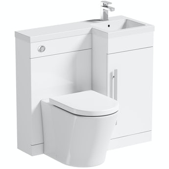 Orchard MySpace white right handed unit with contemporary toilet and seat